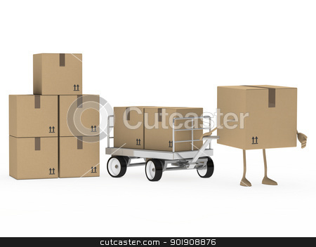 package figure draw transport trolley stock photo, brown package figure draw a transport trolley by d3images
