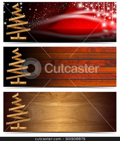 Set of Horizontal Christmas Banners stock photo, Three Christmas banners with wooden christmas tree  by catalby