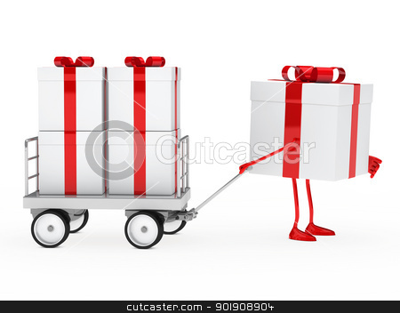 gift box draws a trolley stock photo, red white gift box draws a trolley by d3images