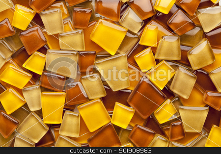 amber glass mosaic tiles stock photo, random background of yellow, brown and amber glass mosaic tiles by Marek Uliasz