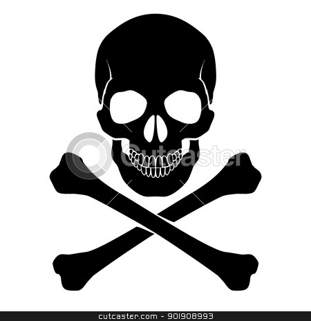 Crossbones and skull stock photo, Skull and crossbones - a mark of the danger  warning by dvarg