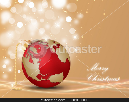 Merry Christmas stock vector clipart, Christmas ball with world map on a decorated background by Alfio Roberto Silvestro