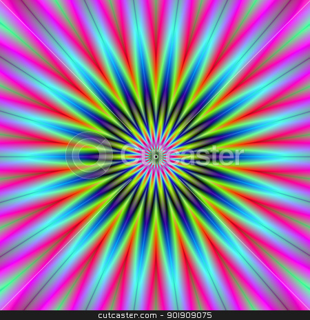 Star Flower stock photo, Digital abstract image with a psychedelic star flower design in green, blue, pink and yellow. by Colin Forrest