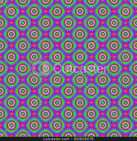 Star Flower tiled stock photo, Digital abstract image with a tiled seamless psychedelic star flower design in green, blue, pink and yellow. by Colin Forrest