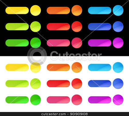 Colorful Web Buttons Template stock vector clipart, Web buttons in nine different colors with white and black background by Ludek Vodicka