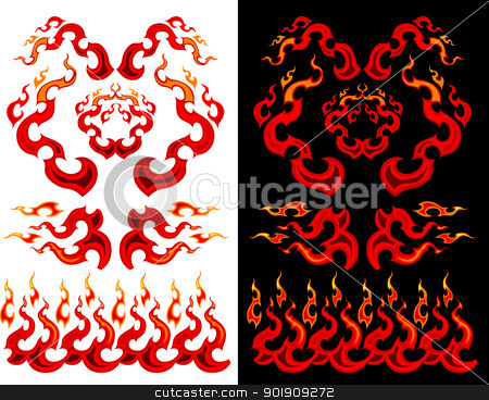 Fire and Flames Vector Graphic Ilustrations stock vector clipart, Vector Images of Graphic Swirling Fire and Flames Images by chromaco