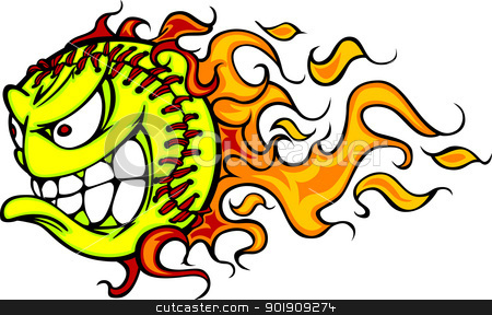 Flaming Fastpitch Softball Face Vector Cartoon stock vector clipart, Cartoon Vector Image of a Flaming Fast Pitch Softball with Angry Face by chromaco
