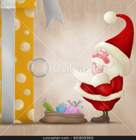 Perplexed Santa and big gift stock photo, Santa Claus perplexed in front of a big gift box and little bag by Giordano Aita