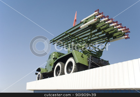 Monument of WWII stock photo, Monument of WWII. Antiaircraft rocket complex against the blue sky by Lacroix