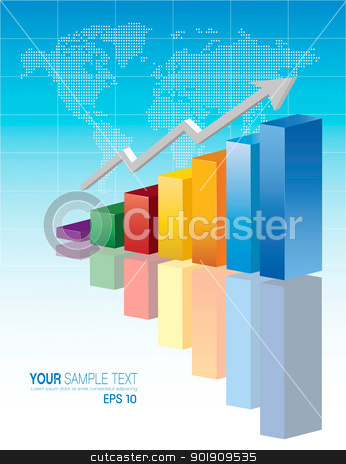 Color Business Chart stock vector clipart, 3d financial graph stat business background by monicaodo