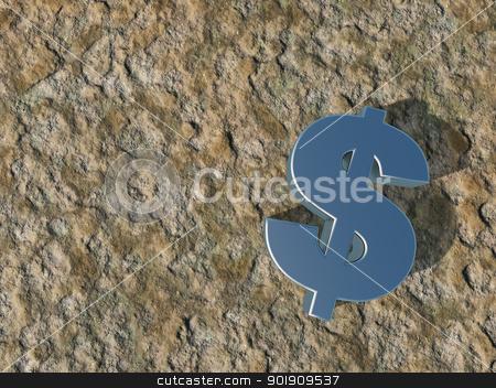 dollar symbol stock photo, metal dollar symbol on stone surface - 3d illustration by J?