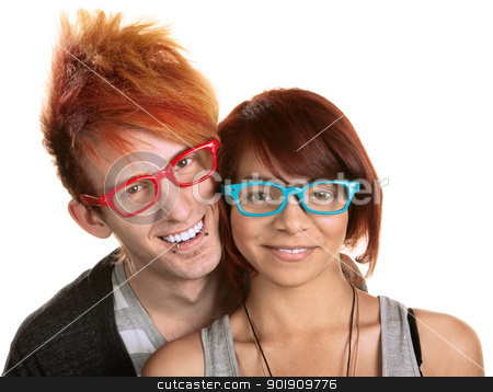 Couple in Red and Blue Glasses stock photo, Cute young couple in red and blue glasses over white by Scott Griessel