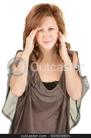 Woman In Pain stock photo, Caucasian female on isolated background holding her head by Scott Griessel