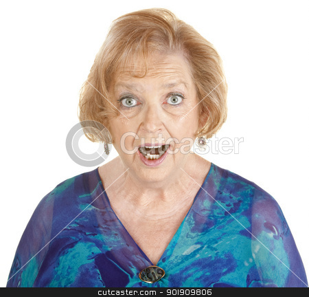 Awestruck Woman stock photo, Awestruck elderly woman in blue on isolated background by Scott Griessel