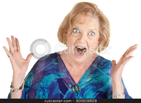 Furious Old Lady stock photo, Furious woman over white screaming with hands open by Scott Griessel