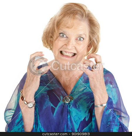 Anxious Senior Woman stock photo, Restless European senior female with clenched teeth by Scott Griessel