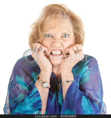 Woman With Hands on Face stock photo, Furious elderly woman with hands on face by Scott Griessel