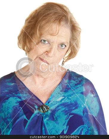 Senior Woman Makes Strange Faces stock photo, Senior age female holding and distorting her face by Scott Griessel