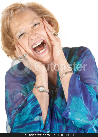 Blond Senior Woman Screaming stock photo, Blond elderly woman yelling with hands on her cheeks by Scott Griessel