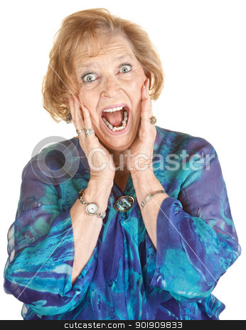 Frightened Elderly Woman stock photo, Lady in blue and hands on face screaming by Scott Griessel