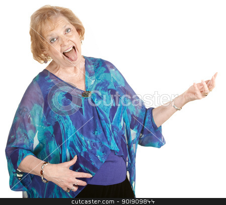 Air Guitar Grandmother stock photo, Funny elderly lady playing air guitar with tongue out by Scott Griessel