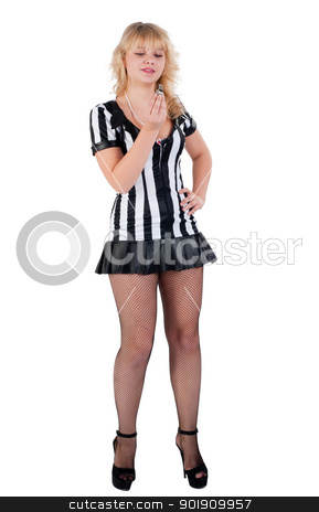 Sexy Soccer Referee stock photo, Beautiful Soccer Referee with whistle. Isolated on white by Aikon