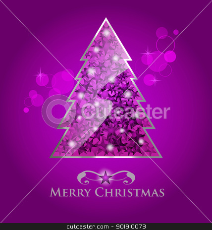 Vector glossy purple christmas tree stock vector clipart, Abstract vector glossy purple  christmas tree on purple background with bokeh element by Vladimir Repka