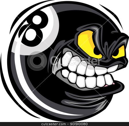 Billiards Eight Ball with Angry Face Cartoon Vector Design  stock vector clipart, Cartoon Face on a Billiards or Pool Eight Ball Vector Illustration by chromaco