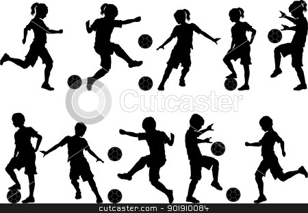 Soccer Silhouettes Kids Boys and Girls stock vector clipart, Soccer Players Silhouettes of Kids - Boys and Girls by chromaco