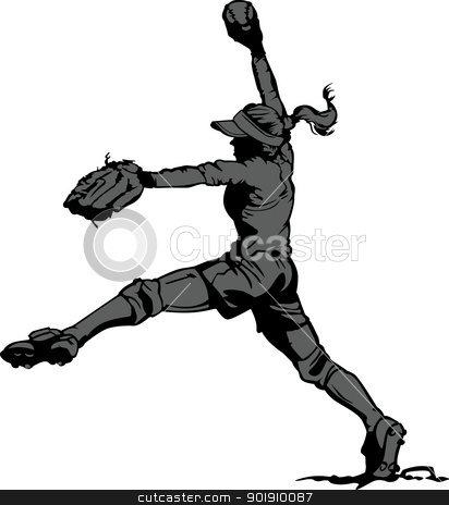 Fast Pitch Softball Pitcher Vector Illustration stock vector clipart, Vector Illustration Silhouette of a Fastpitch Softball Player Pitching by chromaco