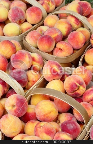 Baskets of peaches stock photo, Wicker baskets filled with fresh, ripe peaches by Cathy Locklear