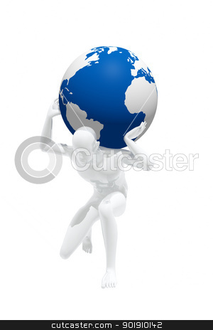 Person trying to carry the weight of the world on his shoulders stock photo, Person trying to carry the weight of the world on his shoulders by genialbaron