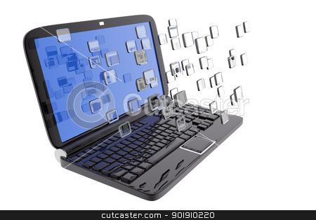 Laptop and digital files stock photo, Laptop and digital files by genialbaron