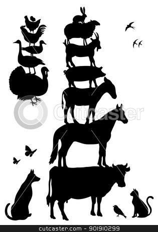 farm animals, vector set stock vector clipart, farm animal silhouettes, vector set by Beata Kraus
