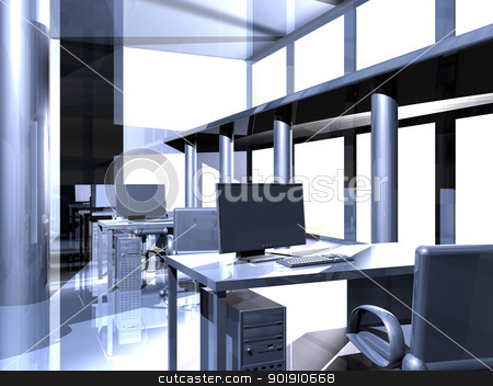 Metal Office stock photo, Surrealistic Metal Architecture.  by Michael Osterrieder