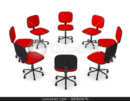 Circle of Office chairs stock photo, 3D rendered illustration.  by Michael Osterrieder