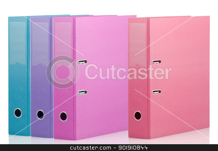 Binders stock photo, Four different color binders on white background. by Homydesign
