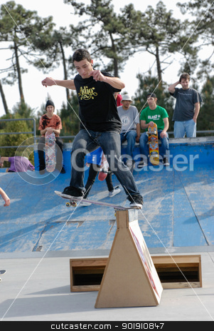 Joao Dantas stock photo, ILHAVO, PORTUGAL - MARCH 16: Joao Dantas on a FS Nose slide during the Skate Open Ilhavo on March 16, 2008 in Ilhavo, Portugal. by Homydesign