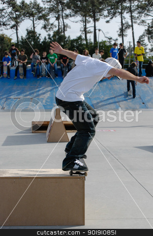 Unknown skater stock photo, ILHAVO, PORTUGAL - MARCH 16: Unknown skater on a BS nose grind during the Skate Open Ilhavo on March 16, 2008 in Ilhavo, Portugal. by Homydesign
