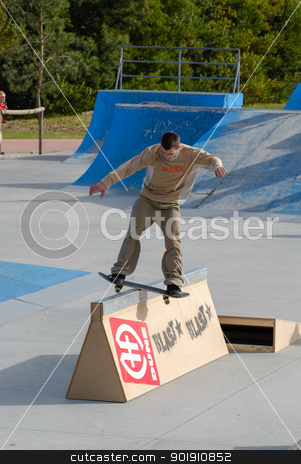 Unknown skater stock photo, ILHAVO, PORTUGAL - MARCH 16: Unknown skater on BS boardslide during the Skate Open Ilhavo on March 16, 2008 in Ilhavo, Portugal. by Homydesign