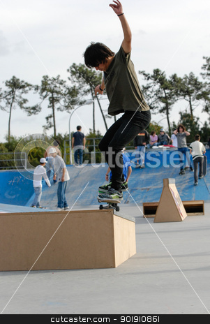 Kevin stock photo, ILHAVO, PORTUGAL - MARCH 16: Kevin on a FS nose grind during the Skate Open Ilhavo on March 16, 2008 in Ilhavo, Portugal. by Homydesign