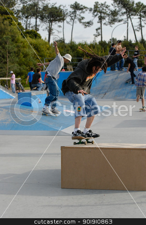 Narsa stock photo, ILHAVO, PORTUGAL - MARCH 16: Narsa on a FS 50-50 during the Skate Open Ilhavo on March 16, 2008 in Ilhavo, Portugal. by Homydesign