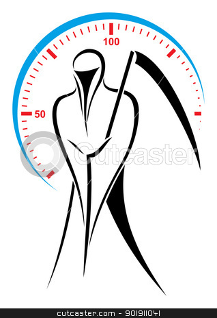 Speed demon stock vector clipart, Death with scythe over speed symbol by Oxygen64