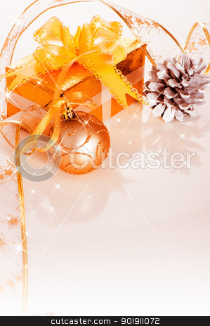 Christmas border stock photo, Christmas gift box with decoration on white background by p.studio66