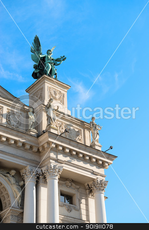 Symbolic sculpture of Music, Lviv theatre, Ukraine stock photo, Lviv theatre of opera and ballet exterior. The symbolic sculpture of Music. by Iryna Rasko