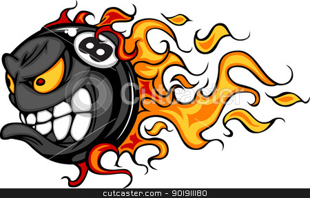 Billiards Eight Ball Flaming Face Vector Image stock vector clipart, Flaming Eight Ball Face Cartoon Illustration Vector by chromaco