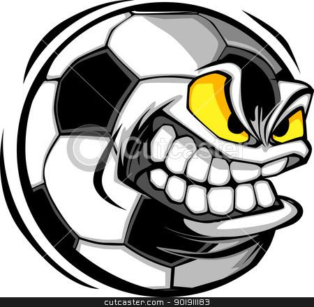 Soccer Ball Face Cartoon Vector Image stock vector clipart, Vector Cartoon Soccer Ball with Mean Face by chromaco