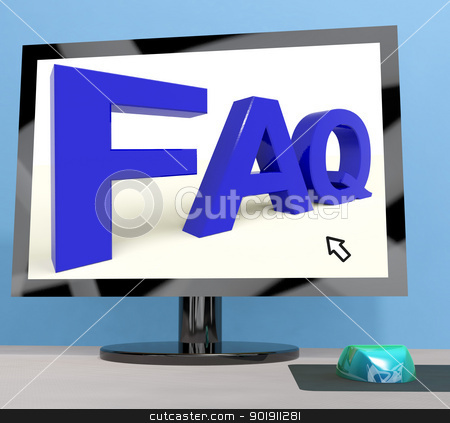 Faq On Computer Screen Shows Online Help stock photo, Faq On Computer Screen Showing Online Help by stuartmiles