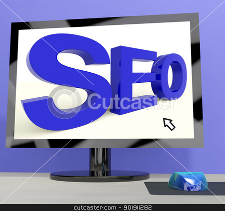 Seo Word On Computer Showing Online Web Optimization stock photo, Seo Word On Computer Shows Online Web Optimization  by stuartmiles