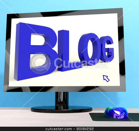 Blog Word On Computer For Blogger Website stock photo, Blog Word On Computer Shows Blogger Website  by stuartmiles